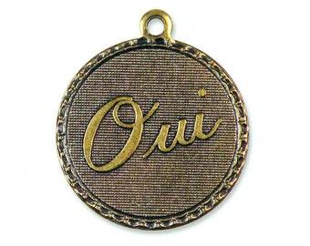 Brass French Oui Yes Charm Brass Ox {2pcs} F116-BOX