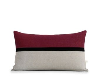 Burgundy Horizon Line Lumbar Pillow Cover with Black & Natural Linen Stripes by JillianReneDecor, Modern Home Decor, Crimson, Fall Decor