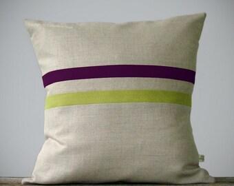Linden Green and Purple Striped Linen Pillow 16x16 - Fall Home Decor by JillianReneDecor - Autumnal Decor - Plum