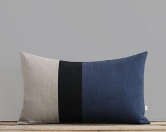 Navy Blue, Black and Natural Linen Colorblock Pillow Cover (12x20) by JillianReneDecor, Modern Home Decor, Stripe Trio, Stripes, Fall 2016