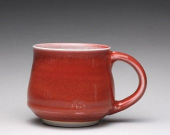 handmade porcelain mug, ceramic teacup, coffee cup with bright red and turquoise celadon glazes