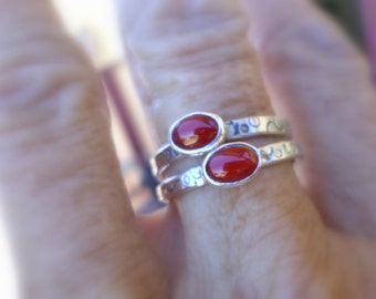 Coral and Sterling Stacker