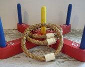 Toy Ring Toss Game with Red Wooden Base and 3 Manila Rope Rings - Handcrafted Wooden Toy Ring Toss Game with Red Base