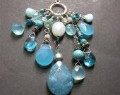 Reserved for Jennifer -Aqua Boho Charm Necklace, Long Gemstone Leather Necklace, Multistone Necklace