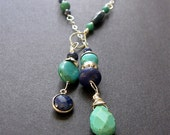 Lariat Necklace, Turquoise Lapis Necklace, Sterling Silver Lariat, Southwest Necklace
