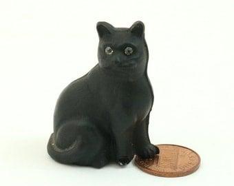 Vintage Czech Glass Black Cat Figurine, Art Deco, Lucky Black Cat