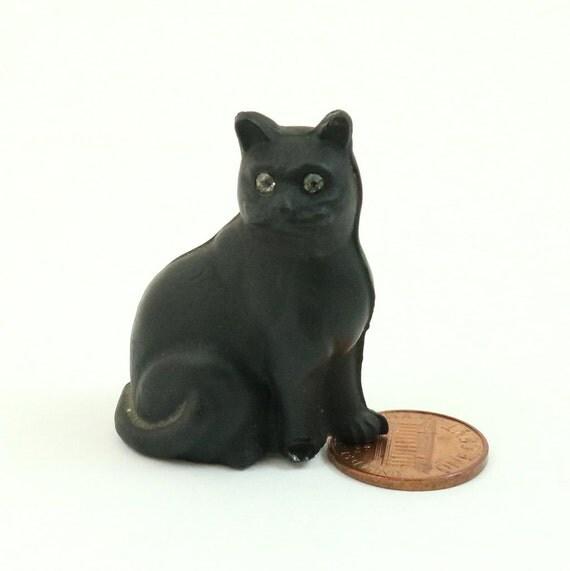 Vintage Art Deco Czech Glass Lucky Black Cat Figurine