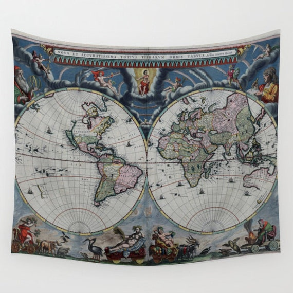 Old World Map Wall Tapestry, Vintage Map Large Size Wall Art,Modern Decor,Office Decor,Beach Hut Decor,Ancient Tapestry,Vintage Map Tapestry