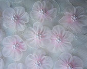 12 pc PINK Organza Pearl Beaded Ribbon Fabric Flower Applique Bridal Baby Doll Hair Bow