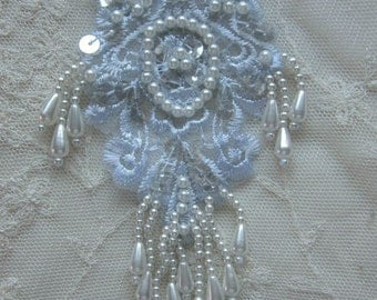 Lt BLUE Pearl Sequin Beaded Embroidered Lace Flower Applique Bridal Scrapbook Clothing
