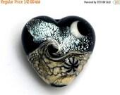 ON SALE 50% OFF Sable Celestial Heart - 11832805 Handmade Glass Lampwork Bead