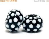 ON SALE 40% OFF Seven Black and White Rondelle Beads - 10203801-Handmade Glass Lampwork Bead