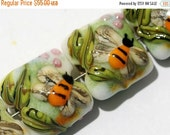 ON SALE 30% OFF Glass Lampwork Bead Set - Seven Bumble Bee Garden Pillow Beads 11007304