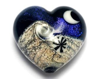 Indigo Night Celestial Heart (Large) - Handmade Glass Lampwork Bead 11833025