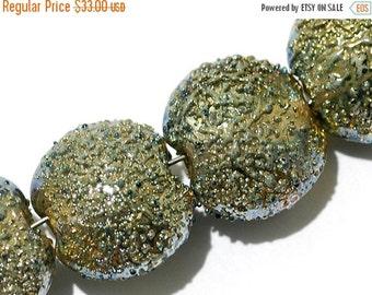 ON SALE 30% OFF Glass Lampwork Bead Set - Four Golden Green Metallic Lentil Beads 40101012