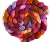 Finn Wool Roving - Hand Painted Spinning or Felting Fiber, Muted Heat