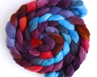Finn Wool Roving - Hand Painted Spinning or Felting Fiber, Burnished Sunset