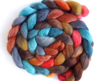 Corriedale Wool Roving - Hand Painted Spinning or Felting Fiber, Jasper and Turquoise