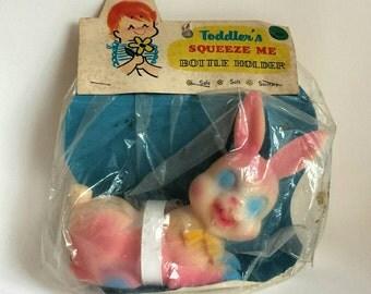 Vintage Rubber Bunny Bottle Holder New in Original Package