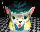 Man Kitty Cat Feline Chat wearing hat Small Cookie jar