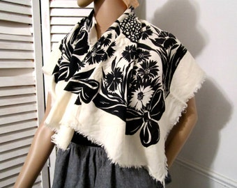 Floral Scarf  Vintage 1980s scarf  Womens accessories Black and Cream Off-White