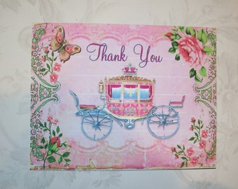 PINK CiNDERELLA CARRIAGE – Elegant Thank you cards - Butterlies, Pink scrolls - Roses - Set of 4 notecards with envelopes - MB 127