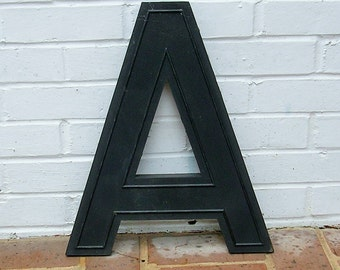 Huge Vintage Letter A Sign Vintage Marquee Letter A Hard Black Plastic A Sign 17 Inches Tall