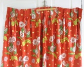Set Vintage Barkcloth Curtains Drapes, Vintage Orange Rust Curtains, Floral Barkcloth Fabric, Vintage pinch pleat curtains, Dandelion