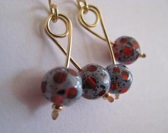 Blue Gray and Red Earrings, Slate Blue Earrings, Polka Dot Earrings, Gray Red Window Cut Earrings