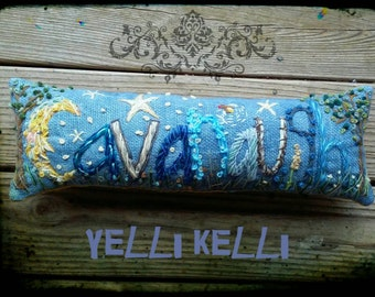 Boy Theme Freehand Embroidered Bohemian Letters Name Pillow Custom Made Up To Five Letters