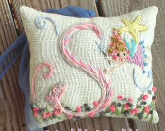 TOOTH FAIRY With Pocket Custom Hand Embroidered Monogram Mini Pillow