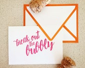 Break out the Bubbly hand-lettered mini letterpress card