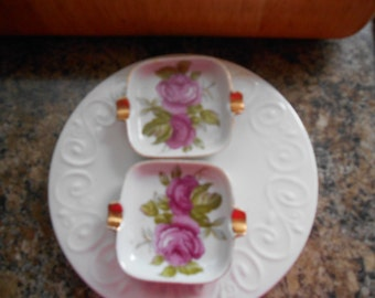 Set of 2 vintage pink roses tiny spoon holders or ashtrays