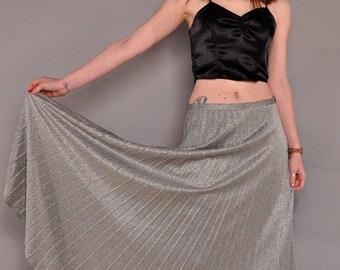 JULY SALE Vintage Silver Lurex Maxi Skirt // 70's Permapleat Disco Skirt / M L