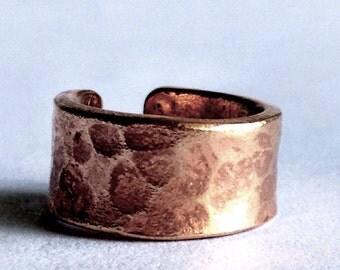 Hammered Bronze Ear Cuff - 7 mm Ear Cuff - 10 mm Ear Cuff - Modern Bohemian Jewelry