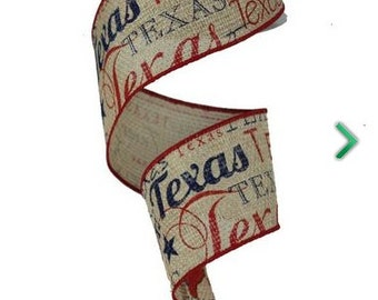 "Faux Burlap/Jute w/TEXAS Wired Ribbon - 2.5""x10 yards"