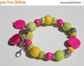 Memorial Day THANKS Sale CLEARANCE - Handmade Fuchsia, Lime Green and YellowMemory Bangle, Multicolored Bracelet, Wooden Bangle, Multicolore