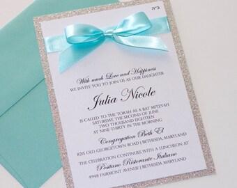Bat Mitzvah Invitations | Glitter Invitation | Elegant Invitation | Sweet 16 | Quinceanera | Bling Invite | Silver Glitter & Aqua  - SAMPLE