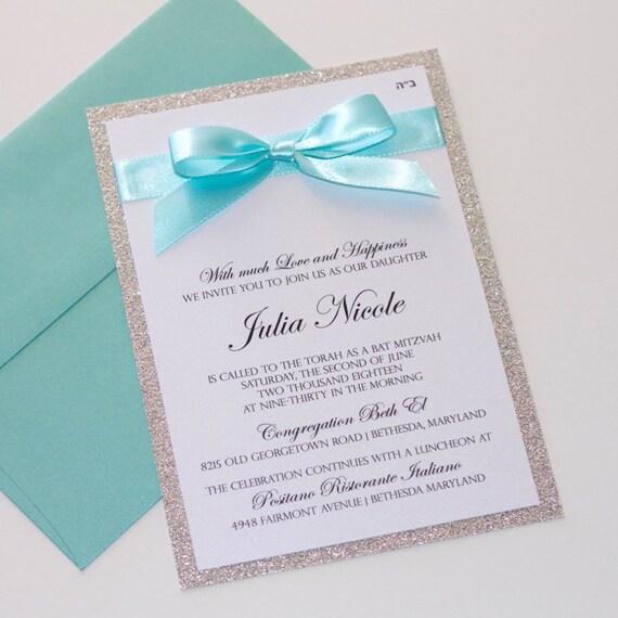 Bat mitzvah invitations glitter invitation elegant like this item stopboris Image collections