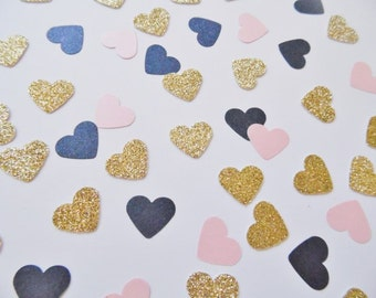 Gold Glitter and Navy Blue and Blush PInk Heart Confetti, Wedding Reception Decoration, Table Scatter, Glitter Confetti, Bridal Shower Decor
