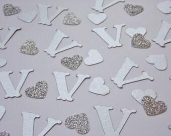 Silver Monogram Confetti, Wedding Shower Decor, Reception Table Scatter, Party Decoration, Glitter Hearts