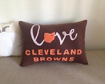 Love Cleveland Browns Felt 12x18 Accent Pillow