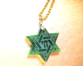 Judiaca vintage 70s , jade , Star of David necklace.