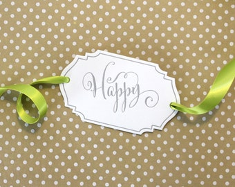 Happy Letterpress Gift Tag - Set of 3 Letterpress Gift Tags