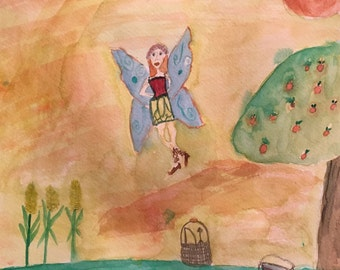 Fairy in the apple orchard, original watercolor on paper