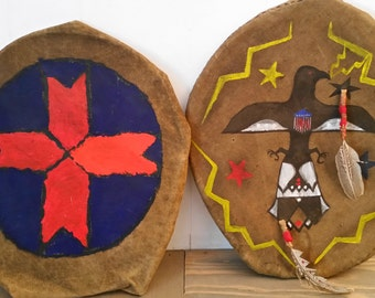Vintage Homemade Native American Style Shields Made from Old Canvas Tent, Handpainted Patriotic Rustic Cabin or Camp Decor