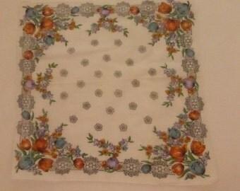 Vintage Mid Century  Handkerchief with Tulips