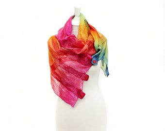 silk scarf, felt scarf, hand painted, dyed, wool scarf, merino, multicoloured, kate ramsey, fabulousfelt, rainbow, yellow, pink