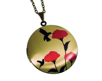 Hummingbird in Poppy Field Necklace - Brass Photo Locket  (R3B-C3)