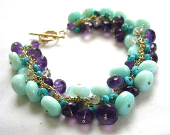 Peruvian Opal, Amethyst and Turquoise Bracelet - On Hold for V
